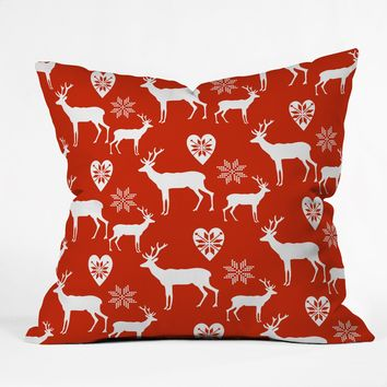 Natt Christmas Deer Throw Pillow