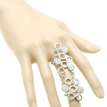 Round Metal Cluster Armour Knuckle Pave Crystal Stone Full Finger One Size Ring