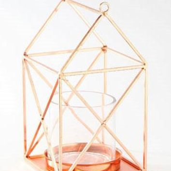 """Copper Geometric Metal Candle Holder - 10"""" Tall x 5.5"""" Wide"""