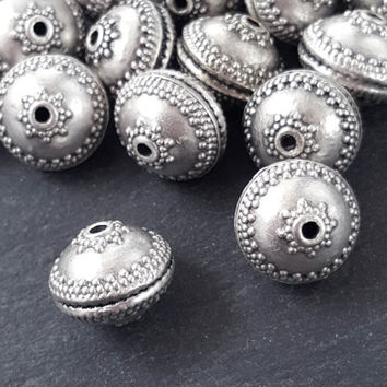 Large Ornate Hollow Silver Bead Spacer Ethnic Turkish Jewelry Supplies Findings Components Matte Antique Silver Plated - 2pc