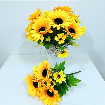 LOT 10  Sunflower Artificial Flower Home Wedding Floral Decoration Costume Cosplay Crafts Headdress