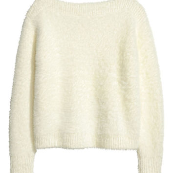 Fluffy Sweater - White - Ladies | H&M US