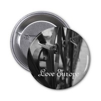 Button: European Bridge and Love Lock. Love Europe 2 Inch Round Button