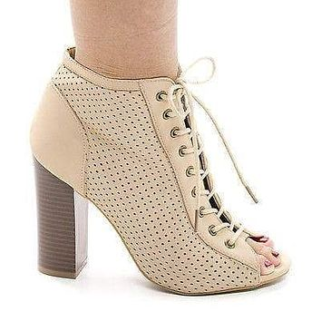 Stash31M By Bamboo, Peep Toe Corset Lace Up Laser Perforated Stacked Heel Booties