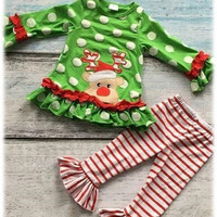Ruffle and Reindeer Girls Christmas Outfit