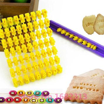 Fondant Cake Alphabet Letter Number 1set 26 A-Z Cookies Biscuit Stamp Embosser Mold Free shipping