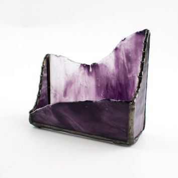 Desktop Business Card Holder Purple Stained Glass Home Office