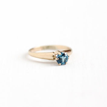 Vintage 10k Rosy Yellow Gold Filled London Blue Topaz Ring - 1940s Size 5 3/4 Round 1 Carat Gemstone Solitaire December Birthstone Jewelry