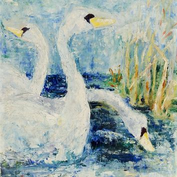 Swans In Blue Painting