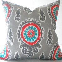 Suzani print orange turquoise pillow cover, FABRIC BOTH SIDES, all sizes available
