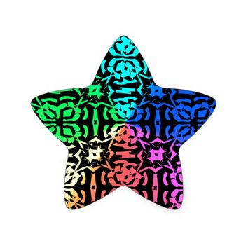 Rustic Colorful Pattern and shapes Star Sticker