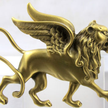 Winged Lion Brooch Historic Newport Reproduction Jewelry, Vintage Figural Cat Lion Pin, Lion Of St. Mark, Lion Of Venice Jewelry