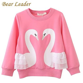 Girls T-Shirt New Baby Girls Full T-Shirt  Cute Cartoon Swan Lace Shirts Children Clothing Blouse