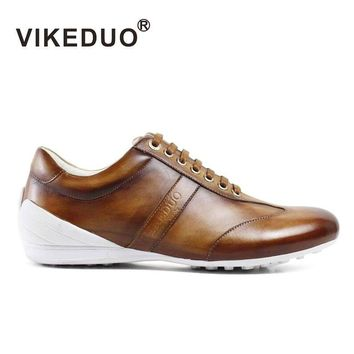 Vikeduo Handmade Mens Casual Shoes Hand Painted 100% Genuine Leather Fashion Custom Made High Quality Lace Up Original Design