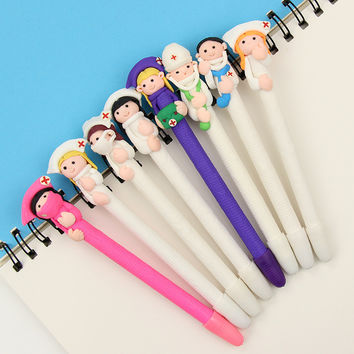 1 PCS Student Prizes Creative Promotional Pens Polymer Caly Doctor Nurse Ballpoint Pen Cute Ball Point Pens School Supplies