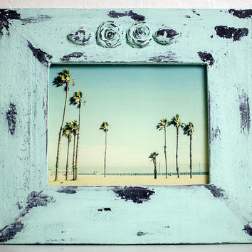 16x14 Super Chunky Shabby Beach COTTAGE Mint GREEN HANDMADE Frame Venice Palm Trees Roses Photography Los Angeles Print