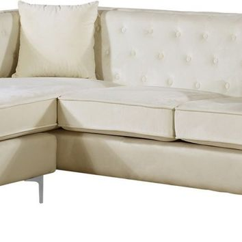 Jesse Deep Tufted Cream Velvet 2pc. Reversible Sectional