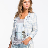 Full Tilt Vintage Washed Womens Boyfriend Flannel Shirt Light Blue  In Sizes