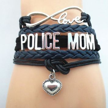 Beautiful POLICE MOM Infinity Love Wristband Bracelet!