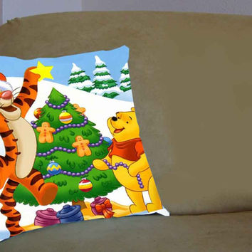 winnie the pooh christmas - Pillow Case, Pillow Cover, Custom Pillow Case **