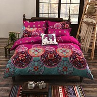 Bohemia Style 4Pcs Bedding Set Cotton Super King Bedding-set 1 Duvet Cover 1 Bedsheet 2 Pillowcases Bed Spread No Comforter