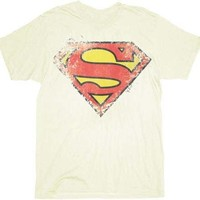 Superman Destroyed Logo Cream Adult T-shirt - Shirts Sheldon Has Worn - | TV Store Online