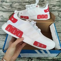 Adidas NMD X LV Fashion Casual Running Sport Shoes White red For Women and Men G