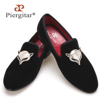 2017 Piergitar NewStyle Men Velvet Shoes with Fox Rhinestone buckle Wedding Loafers Smoking Slipper Men Flats Size US 4-17