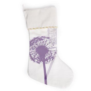 "Monika Strigel ""Dandelion"" Purple Flower Christmas Stocking"
