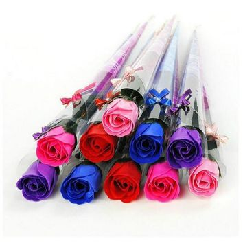 32 x Creative Flowers Wedding Favors Birthday Party Decoration Lover Gifts Single Rose Soap Artificial Flowers 5 Colors