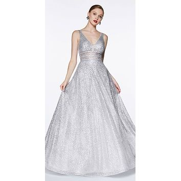 Silver Long A-line Prom Dress V-Neck and Back