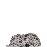 Wildcat Snow Leopard Crystal-Embellished Evening Clutch Bag, Silver