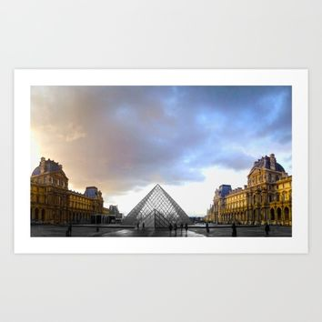 Paris Louvre black and white with color Art Print by Mr Splash