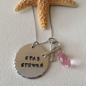 Stay strong necklace, pink swarovski briolette crystal, silver ribbon charm, breast cancer, handstamped, survivors.