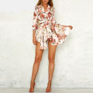 Sash Wrap Satin Floral Print Causal Dress Robe
