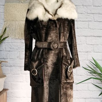 Vintage 1960s Velvet + Fox Fur Collar Coat