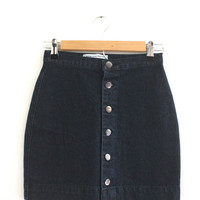 Black Wash Denim Button Up Skirt