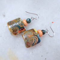Lampwork Earrings, Handmade Jewelry, Beaded Long Dangle Earrings, Lampwork Glass Jewelry Gift For Her