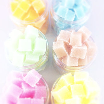 CIJ SALE - 30% OFF - Sugar Scrub Cubes - Set of 6 Jars - You Choose Scents - Spa/Party Favors