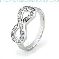 TIONEER Sterling Silver Channel Set Infinity Symbol Ring, Size 7