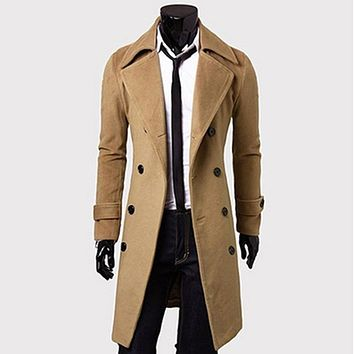 Mens Trench Coat 2017 New Fashion Designer Men Long Coat Autumn Winter Double-breasted Windproof Slim Trench Coat Men KH815086