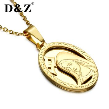 D&Z Virgin Mary Pendant Necklace Gold Color Stainless Steel Double Layers Guadalupe Pendant Necklace For Christian Jewelry