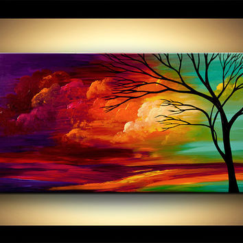 "Original 48"" x 24"" Abstract Modern Turquoise Red Purple Tree Painting Landscape Painting by Osnat - MADE-TO-ORDER - 48""x24"""