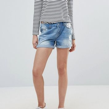Vero Moda Paula Embroidered Pocket Denim Shorts at asos.com