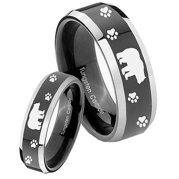 His Hers Shiny Black Bevel Bear and Paw 2 Tone Tungsten Wedding Rings Set