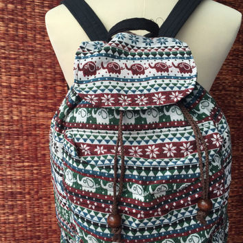Backpack elephants Tribal Boho Ethnic southwestern Hill tribe Styles fabric Ethnic ikat design Overnight travel bag Hippies folk red green