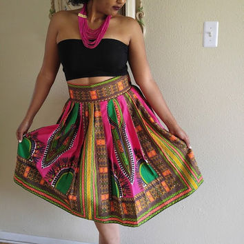 Dashiki Midi skirt, Fuchsia skirt, African print midi skirt,  Midi skirt, Angelina skirt, ankara short skirt, high waist skirt, short skirt