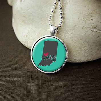 Indiana State Necklace, Love Indiana Pendant, US State Pendant Necklace Jewelry