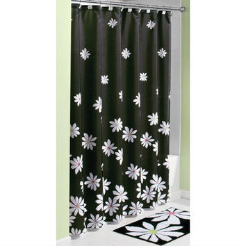Black And White Flower Shower Curtain. Black White Flower Fabric Shower Curtain  Machine Wash Best Products on Wanelo