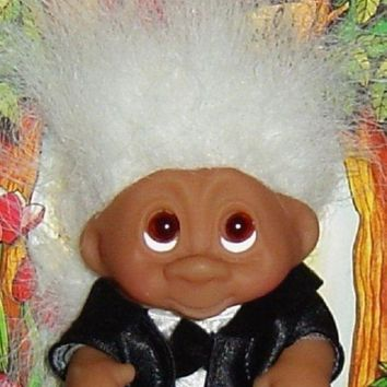 CREYN3C WEDDING GROOM Dam Troll Doll 3' NEW Wedding Party - Groom White Hair